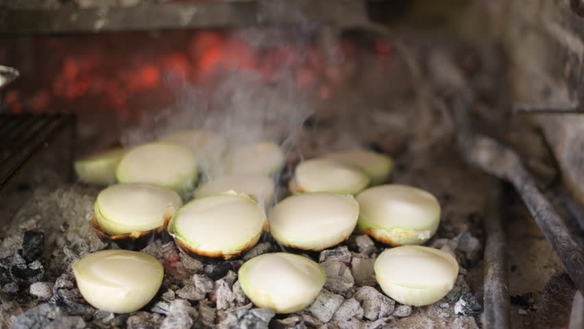 grilled onions with lard