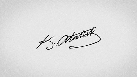 Editorial animation: Signature of the founder of the Turkey, Turkish Republic, Mustafa Kemal Ataturk with the alpha green screen 4k hand writing motion video
