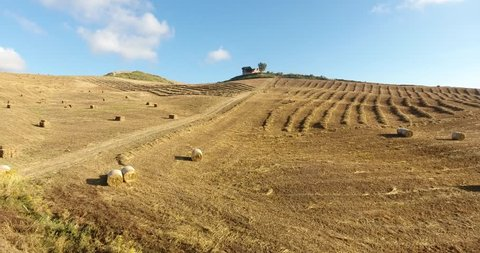 the fields of forage in the land of Sicily with the hay just harvested