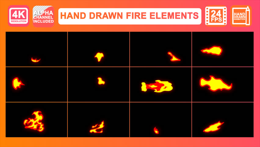 Hand Drawn Fire Elements Motion Graphics Pack. contains dynamic 2d cartoon fire elements. Easy to use. Just drop elements to your project. Easy to customize. Use with your video and graphics.Alpha