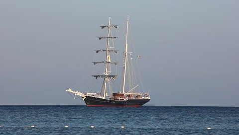Sailing ship (galeon) in Marina di Campo, Elba island, Tuscan Archipelago, Italy