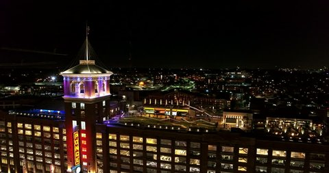 Atlanta Aerial v391 Panning around Ponce City Market rooftop night view 1/18
