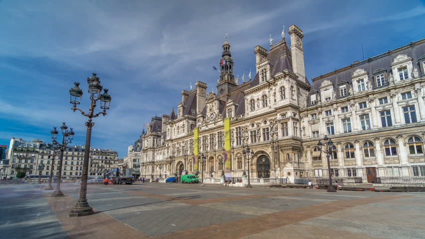 Hotel de Ville or Paris city hall timelapse hyperlapse in sunny day. This building has been used as the location of the municipality of Paris since 1357