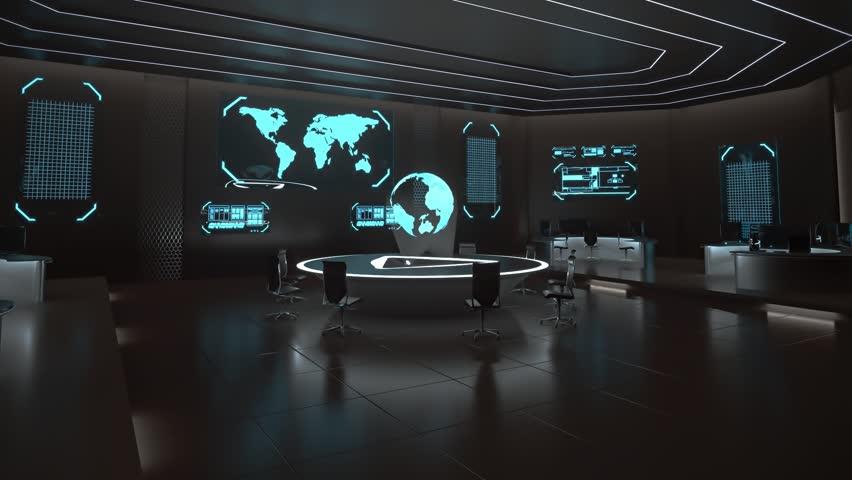 Command center interior, 3D fly through animation, world map, globe