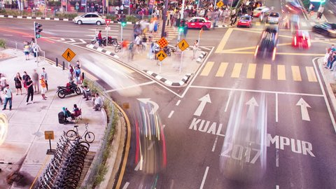 time lapse Kuala Lumpur tourist walking street modern city night life