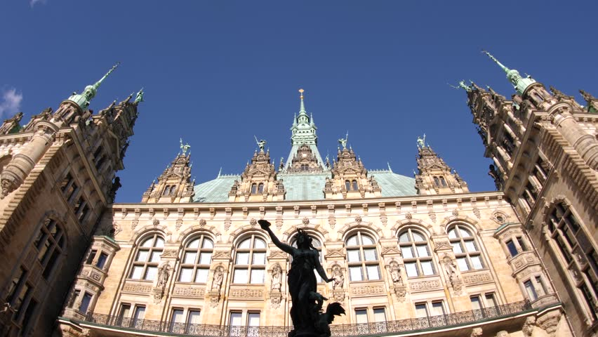 The courtyard is decorated with a Hygieia fountain in majestic Hamburg City Hall Hamburger Rathaus facade the seat of local government of the Free and Hanseatic City of Hamburg