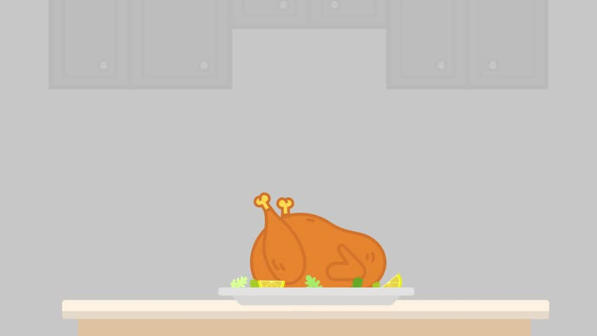 Thanksgiving Day. Delicious baked turkey dances. 2d flat animation