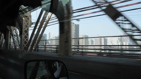 Travelling Ed Koch Queensboro Bridge, Manhattan, New York City, New York, USA, North America