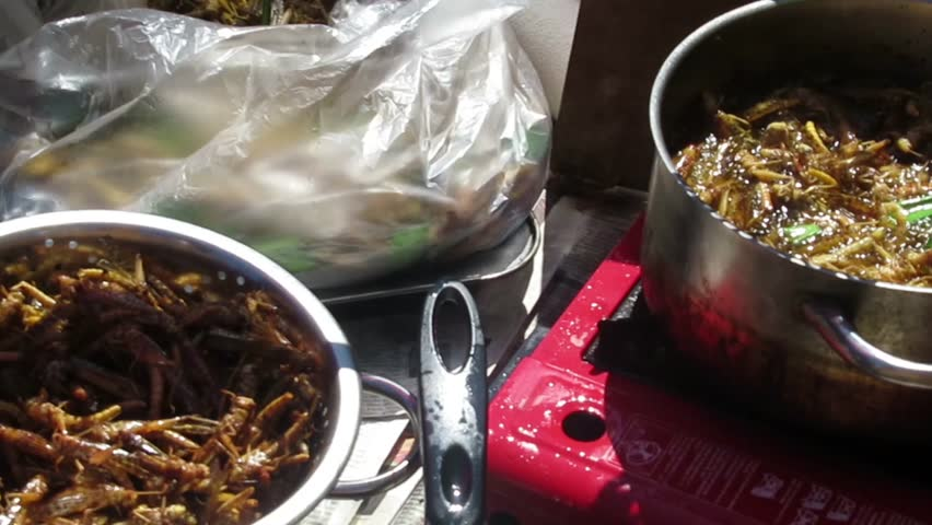 Thai market insect street food barbecue grilling and cooking / Thai market insect street food barbecue grilling and cooking