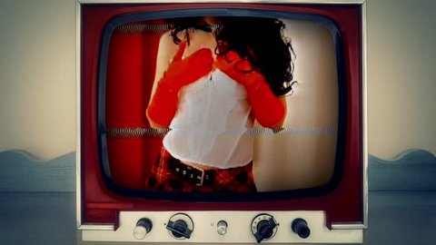A retro vintage TV showing a sexy woman wearing lingerie (a white corset, a short skirt) caressing her body. Analog capture, intentional heavy distortion fx.