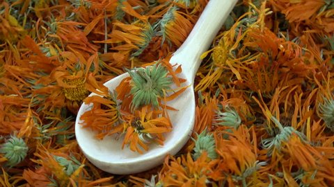 Rotating dried marigold calendula medical flowers background with wooden spoon