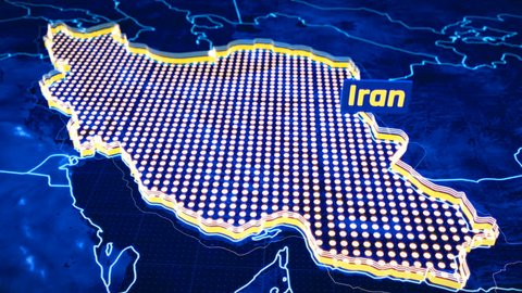 Iran country border 3D visualization, modern map outline, travel