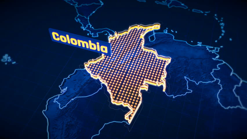 Colombia country border 3D visualization, modern map outline, travel