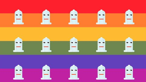 animated pattern representing a happy condom for sexual security, with rainbow flag background