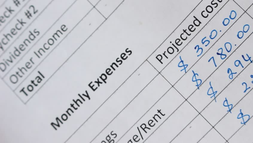 Family Monthly Income and Expenses. Creating a Personal Budget. Mortgage, rent, property taxes, strata fee, house insurance, utility bills (cable, cell, electricity, water), car loan payment