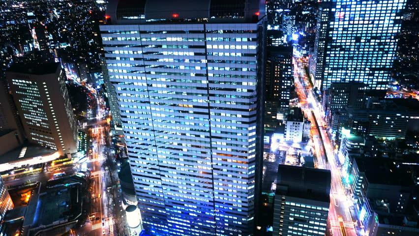 4K Tokyo Time Lapse Shinjuku High-rise Building City Night view Bird's eye view Dazzling city skyscraper Dense building group  | Shutterstock HD Video #1014821987