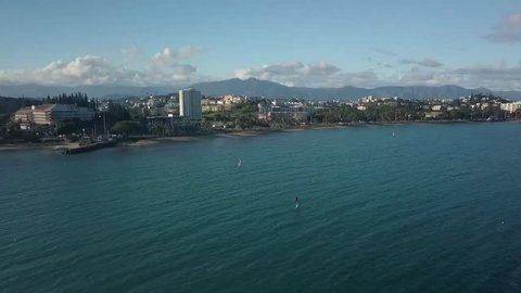 New Caledonia, Noumea, aerial coast footage.