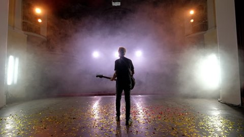 Concert rock band performing on stage with singer guitar. Music video punk, heavy metal or rock group. The guitarist performs on stage. Stage light, smoke. Back view