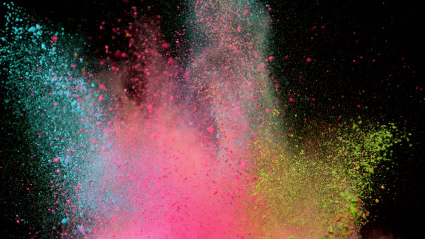 Super slowmotion shot of color powder explosions isolated on black background. Shot with high speed cinema camera at 1000fps | Shutterstock HD Video #1014868777