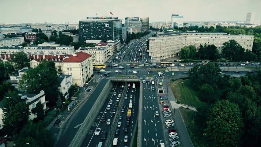 WARSAW, POLAND - AUGUST 1, 2018. Aerial view of rush hour traffic on major city streets | Shutterstock HD Video #1014876907