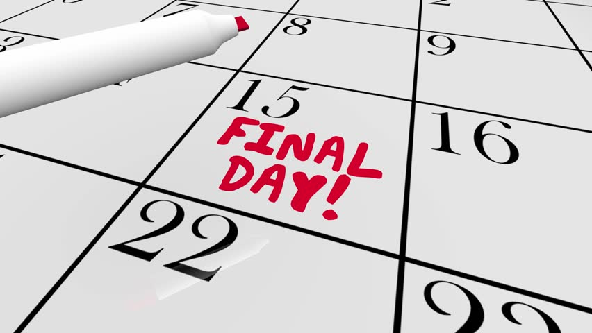 Final Day Last Chance Ending Now Calendar Date 3d Animation