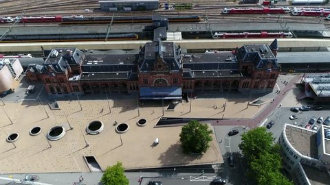 Aerial footage of Groningen Main Station is the main railway station in Groningen in the Netherlands and is located on the Harlingen–Nieuweschans railway between Zuidhorn and Groningen Europapark 4k
