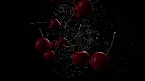 4K - 3D animation of cherries falling on black with splash as background in slow motion.