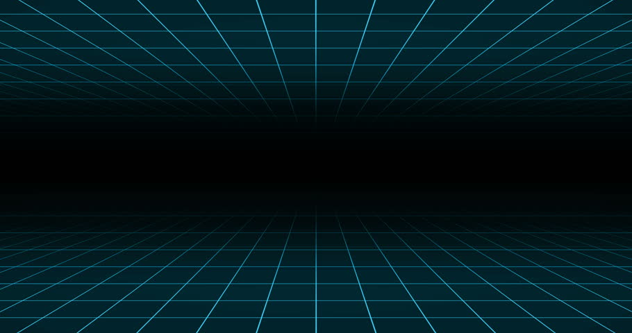 Double blue neon grid on black background 4k loop 80s animation | Shutterstock HD Video #1014989767