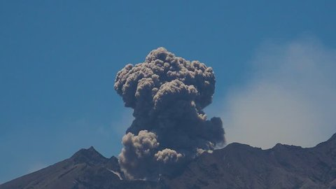 Time lapse of Sakurajima Volcano Erupts Ash Cloud - Volcanic ash erupts from Sakurajima volcano in Kyushu, Japan