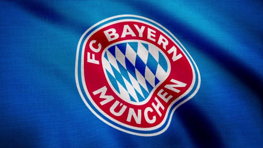 666687186bf FC Bayern Munich flag is waving on transparent background. Close-up of waving  flag with FC Bayern Munich football club logo