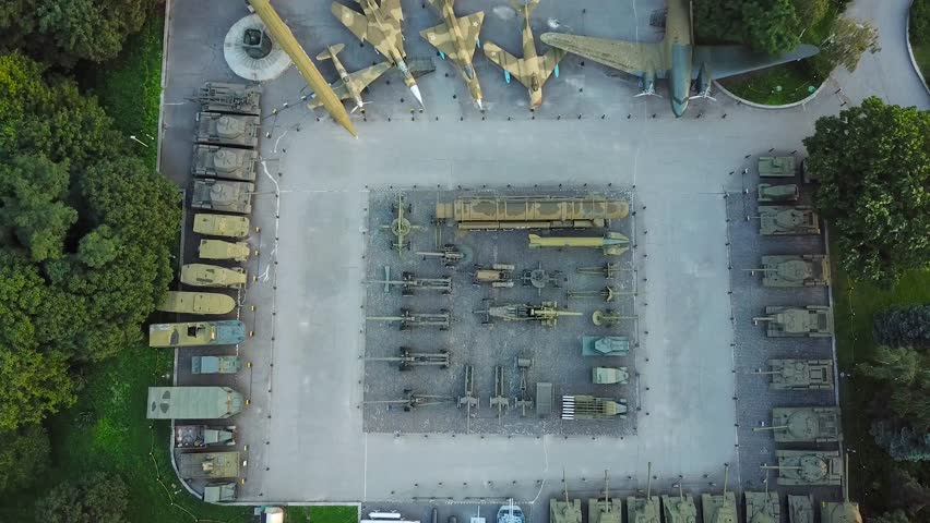 4k aerial shot of Wold War II memorial with tanks and planes in Kiev, Ukraine | Shutterstock HD Video #1015051147