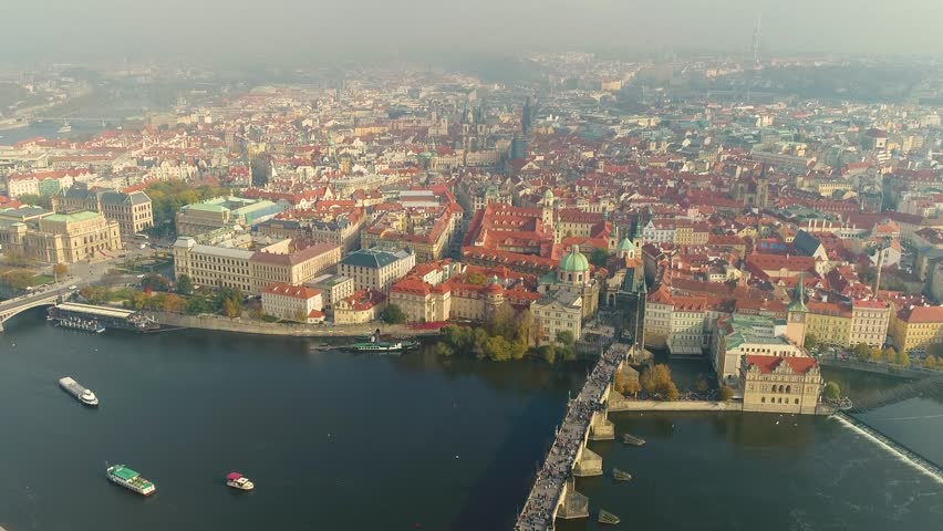 Aerial panorama of the city of Prague. The streets of old Prague. | Shutterstock HD Video #1015057297