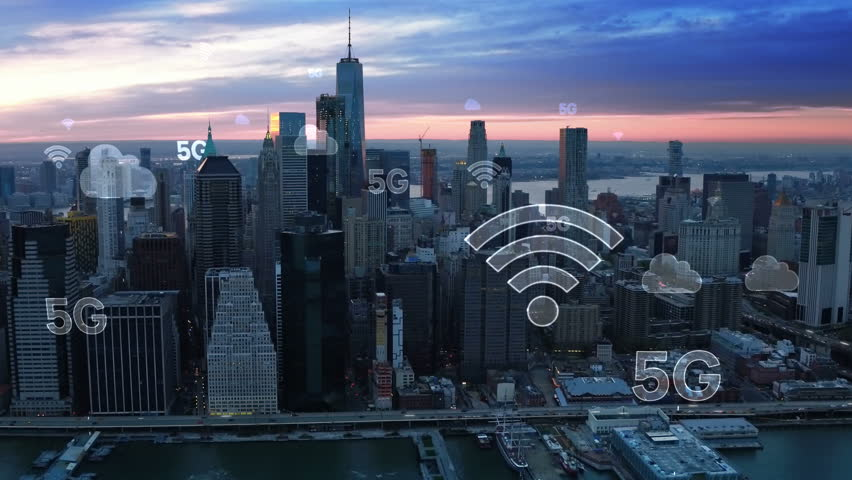 Aerial city connected through 5G. Wireless network, mobile technology concept, data communication, cloud computer, artificial intelligence, internet of things. New York City skyline. Futuristic city. | Shutterstock HD Video #1015058227
