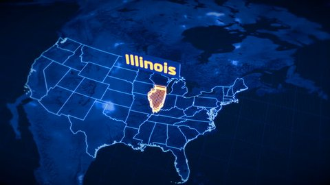 US Illinois state border 3D visualization, modern map outline, travel
