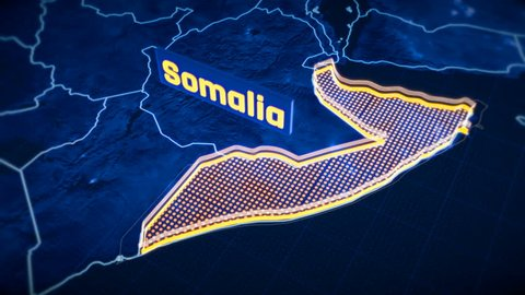 Somalia country border 3D visualization, modern map outline, travel