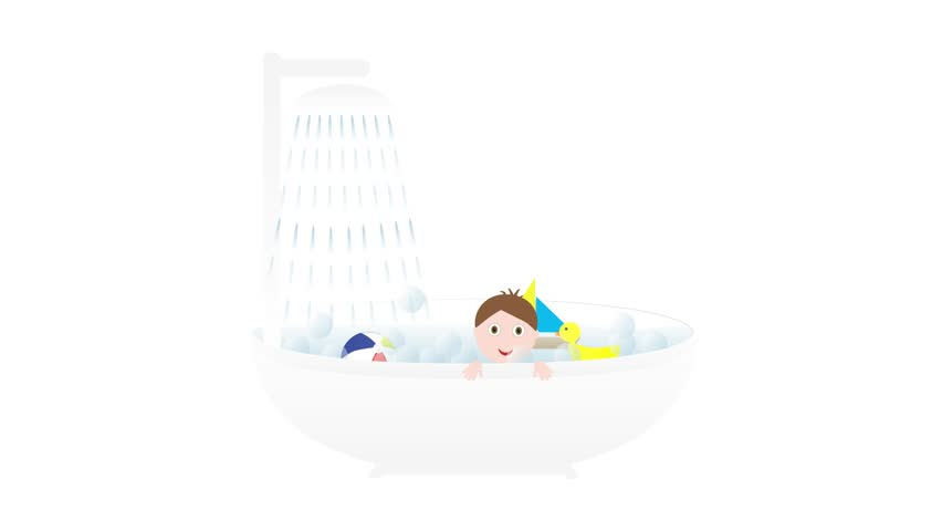 Bathtub with shower, Little cute baby boy and toys - boat, duck and ball