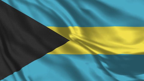 Bahamas Flag Loop - Realistic 4K - 60 fps flag waving in the wind. Seamless loop with highly detailed fabric texture. Loop ready in 4k resolution