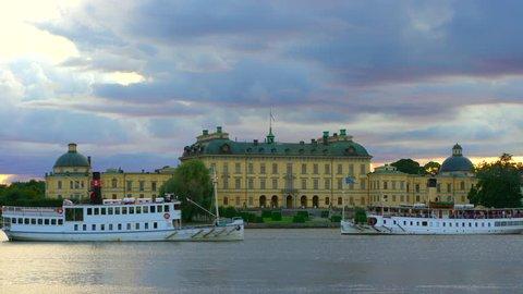 Drottningholm, Sweden - AUGUST 15, 2018: Steamboats trafficing Drottningholm Palace, Stockholm, Sweden.