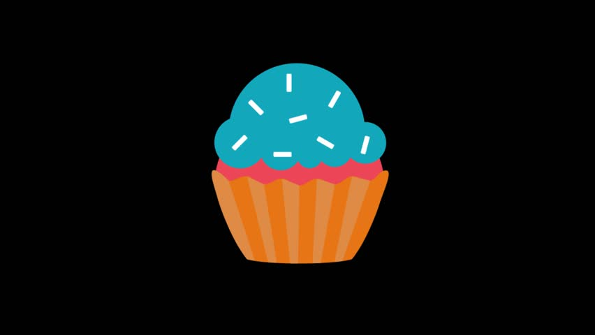 Party icons animation with black png background.Cupcake icon animation with black png background.