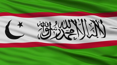 The Islamic Renaissance Party Of Tajikistan Flag, Closeup View Realistic Animation Seamless Loop - 10 Seconds Long