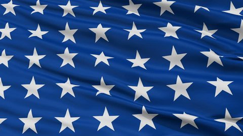Us Naval Jack 48 Stars Flag, Closeup View Realistic Animation Seamless Loop - 10 Seconds Long
