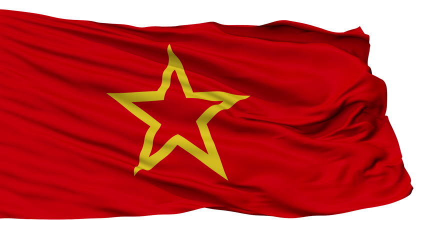 Red Army Flag, Isolated View Realistic Animation Seamless Loop - 10 Seconds Long