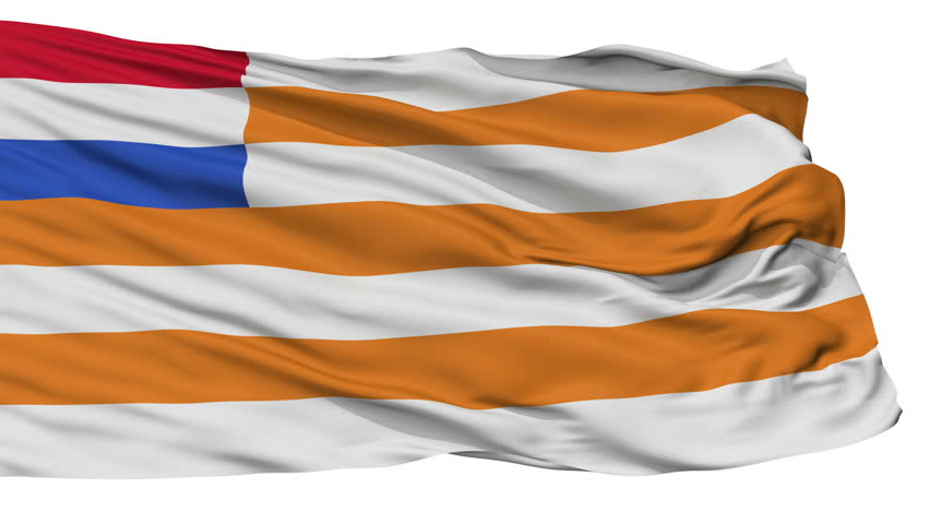 Orange Free State Flag, Isolated View Realistic Animation Seamless Loop - 10 Seconds Long