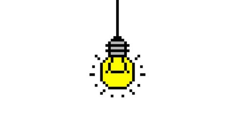 Pixel Art Light Bulb Turning Stock Footage Video 100