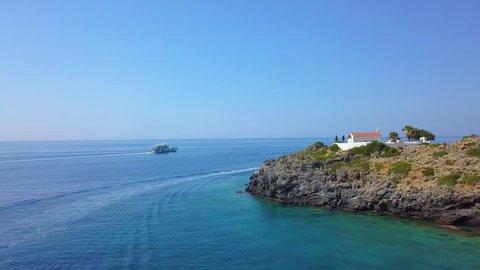 Loutro Village near Sfakia, Crete, Greece - Drone video