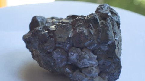 View of Galena geological rock. Galena, also called lead glance, is the natural mineral form of lead sulfide.