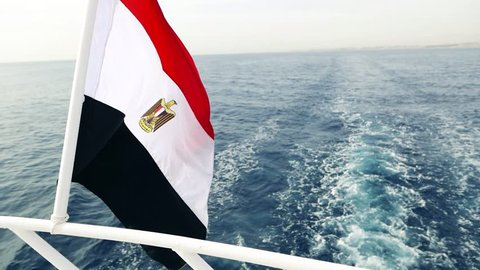 National Flag of Egypt on board a sea yacht, ship. Res Sea resort