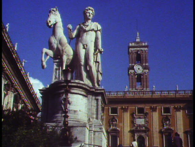 ROME, ITALY, 1988, Campidoglio, medium shot, up of statue and building | Shutterstock HD Video #1015215487