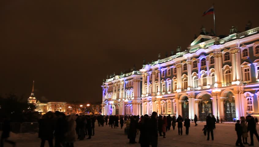 Night panorama of Winter Palace and Palace square in festive illuminated, St. Petersburg, Russia