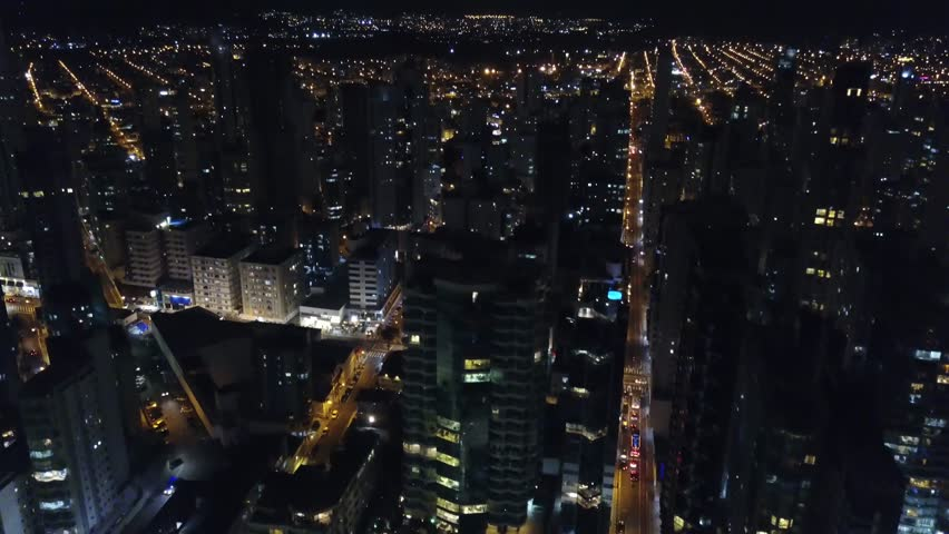 Drone shot of beach and city center area in night time, Atlantic Ocean, Brazil | Shutterstock HD Video #1015231987